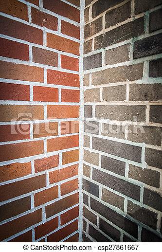 Two tone color of corner brick wall 2 - csp27861667