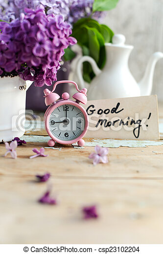 two tone lilac flowers with good morning note two tone lilac