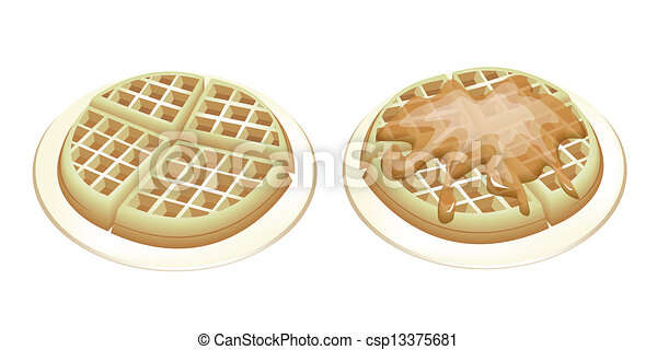 Two Tradition Round Waffles on White Plates - csp13375681