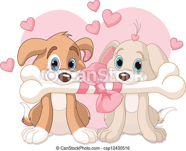 Line Art Valentine : Two valentine dogs. dogs holding decorated vector