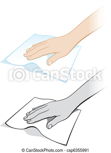 Two variants of a woman's hand with a rag - csp6355991