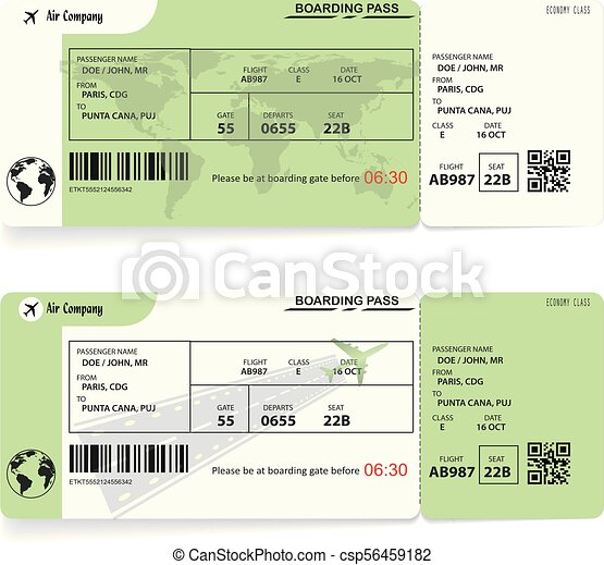 Two Variants Of Airline Boarding Pass Tickets On White Background