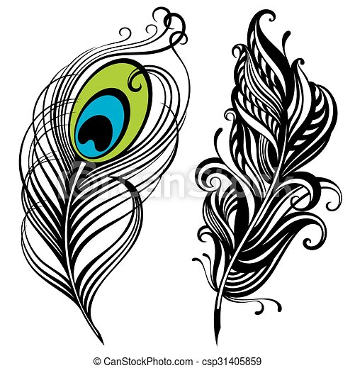 two vector feathers decorative feathers tattoo feathers clipart rh canstockphoto co uk feathers clipart free feather clipart images
