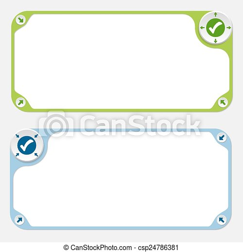 Two vector frames and arrows and check box - csp24786381