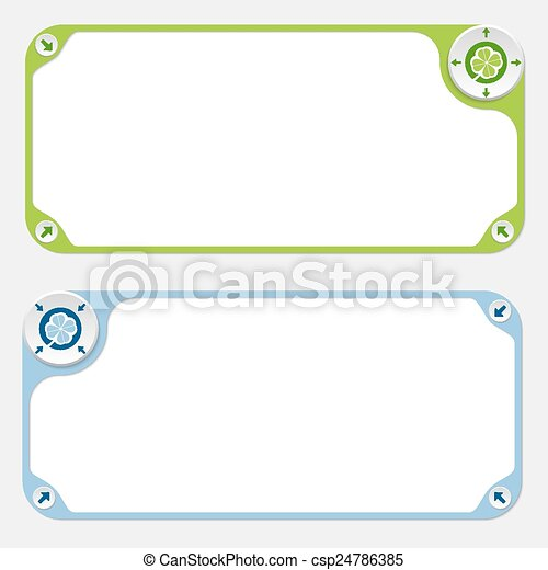 Two vector frames and arrows and cloverleaf - csp24786385