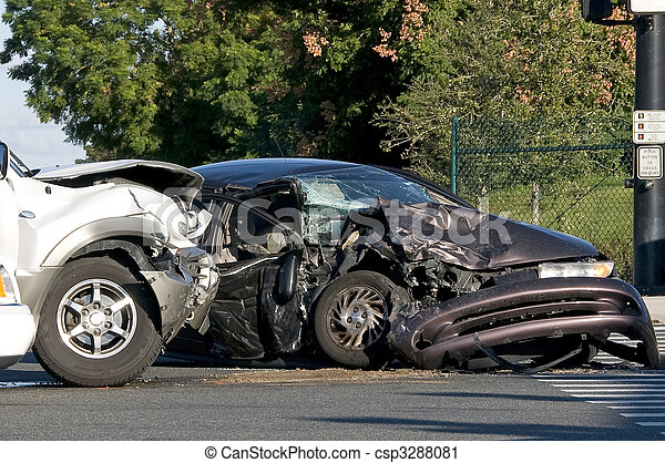 Two Vehicle accident at a busy intersection - csp3288081