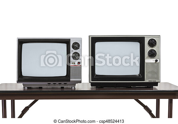 Two Vintage Televisons Isolated on White - csp48524413