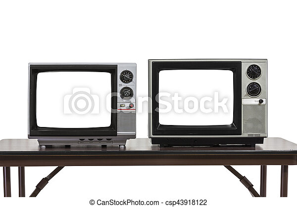 Two Vintage Televisons Isolated on White with Cut Out Screens - csp43918122