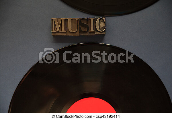 Two vinyl records with music word - csp43192414