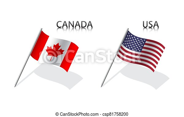 Two waving flag of Canada and United States of America. Simple symbols with flags isolated on a white background. USA - csp81758200