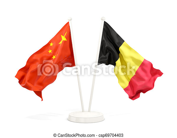 Two waving flags of China and belgium isolated on white - csp69704403