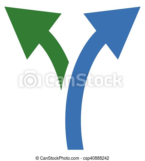 Two way arrow symbol, arrow icon. Curved arrows left and right - csp40888242