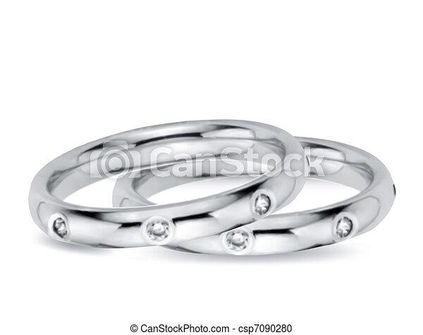 Two Wedding Diamond Rings. Vector illustration - csp7090280