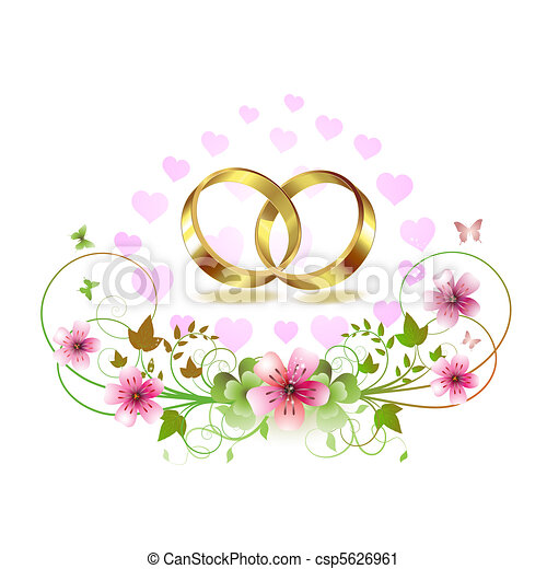 Two Wedding Ring With Hearts And Decorated Flowers Isolated
