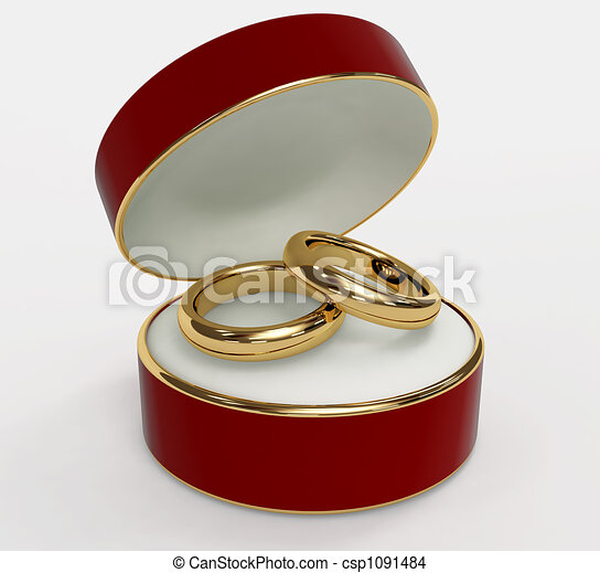 Red 3d casket with two wedding rings object over white drawing