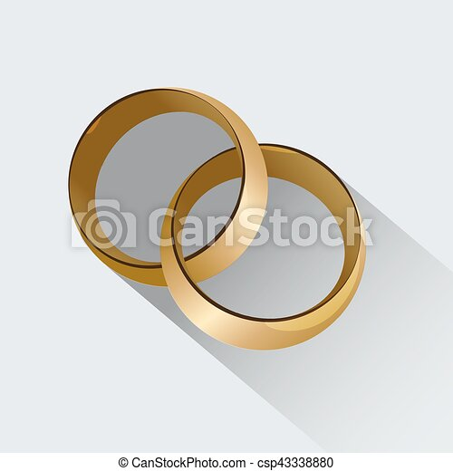 Two wedding rings symbol of love Wedding card with wedding