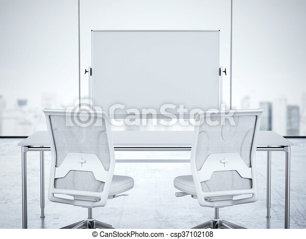 white office interior. Brilliant Office Two White Chairs And Whiteboard In Office Interior 3d Rendering   Csp37102108 In White Office Interior