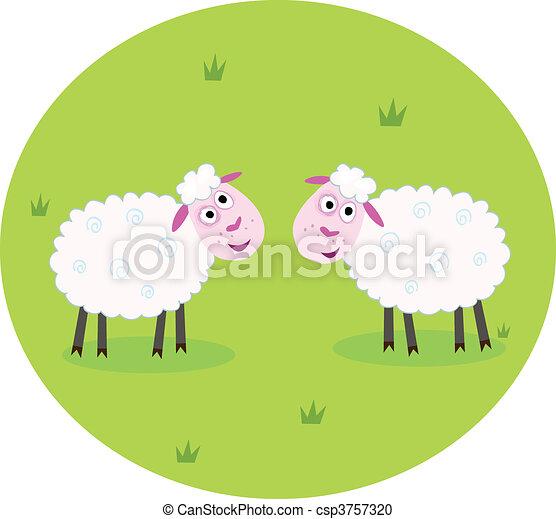 Two white sheep - csp3757320
