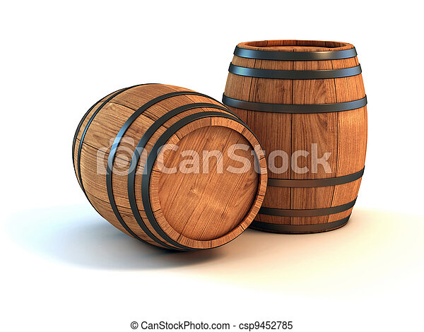 two wine barrels isolated   - csp9452785