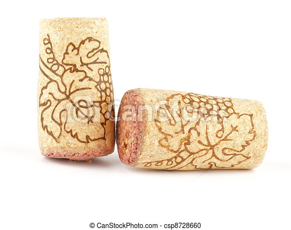 Two Wine corks isolated on white background - csp8728660