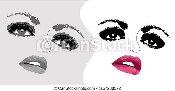 Two woman face eyes. Vector illustration - csp7288572