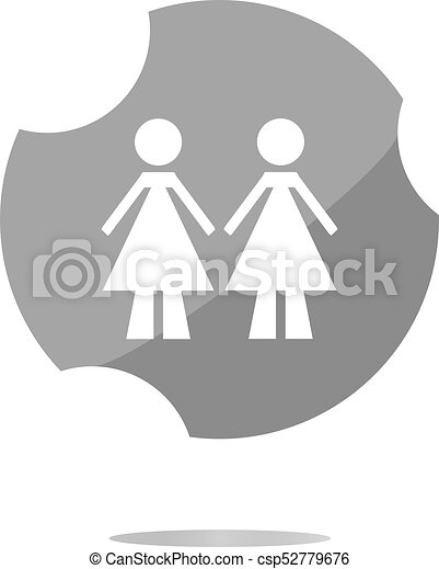 two woman glossy web icon on white background - csp52779676
