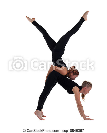two woman gymnast in black show acrobatic exercise isolated