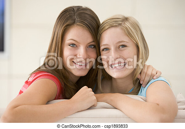 Two women in living room smiling - csp1893833