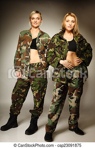 Full length two women in military clothes army girls on gray. 9509b892e4