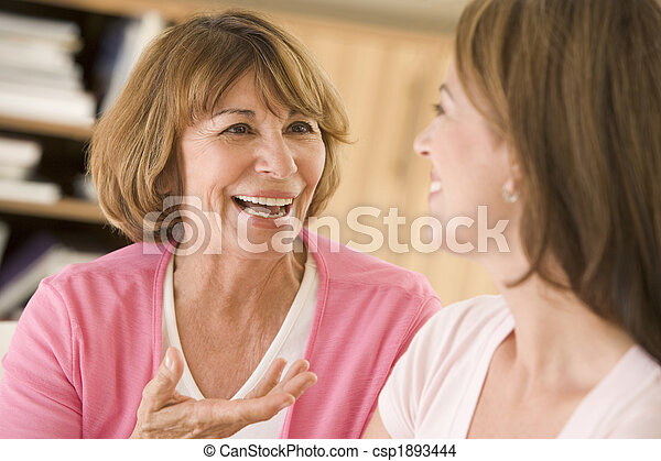 Two women sitting in living room talking and smiling - csp1893444