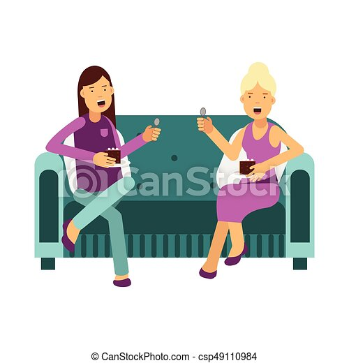 Two women sitting on a sofa talking and eating a cake vector Illustration  sc 1 st  Can Stock Photo & Two cakes on a plate illustration.
