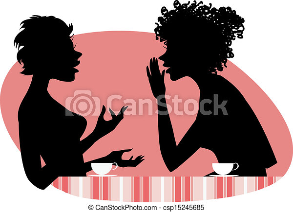 two women talking vector illustration of two girls