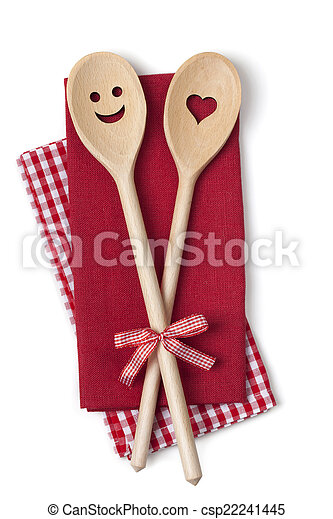 Two wooden cooking spoons - csp22241445