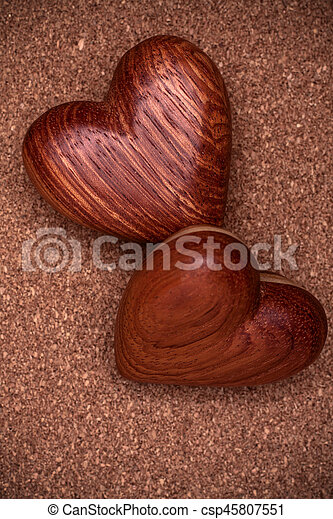 Two Wooden Hearts On Rustic Wood Background Valentines Days Concept Love Symbol Greeting Card
