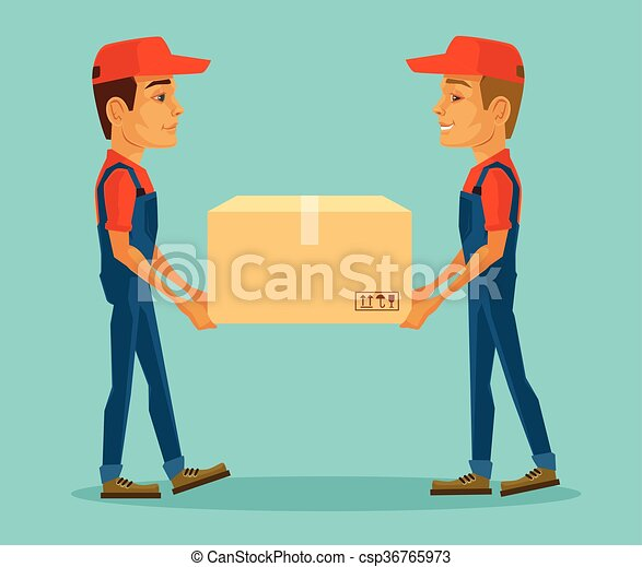 Two workers carrying big box - csp36765973