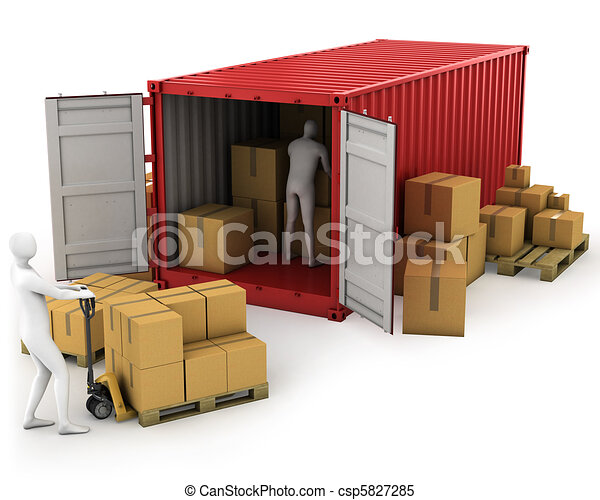 Two workers unload container - csp5827285