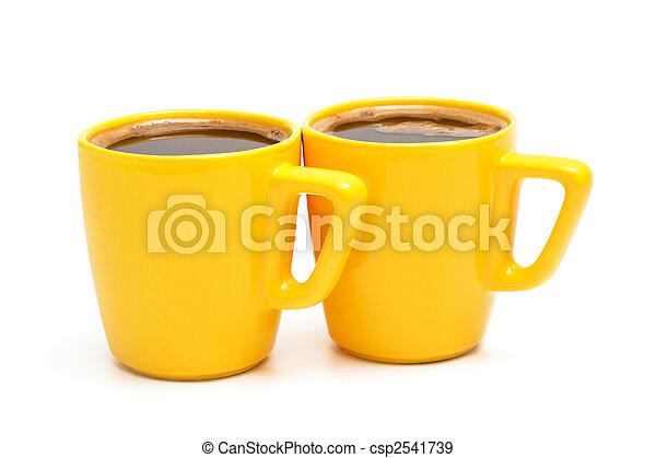 two yellow mugs - csp2541739
