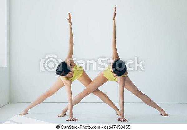 two young beautiful women doing yoga asana revolved