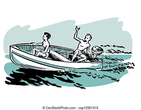 Two young boys enjoying a boat ride - csp10361415