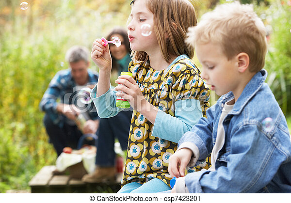 Two Young Children Blowing Bubbles On Countryside Picnic - csp7423201