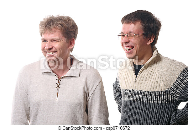 Two young men laughing - csp0710672