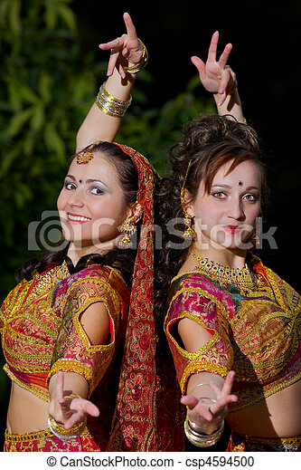two young woman dance - indian cloth - csp4594500