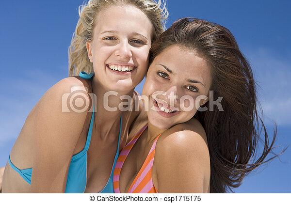 Two young women posing outdoors - csp1715175