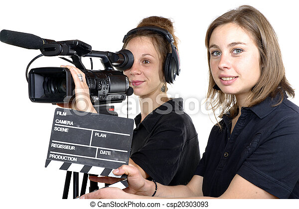 Two young women with a video camera and a clapper board. 66b62254eb