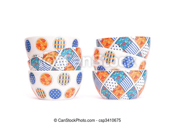 Two zigzag stacks of porcelain bowls isolated - csp3410675