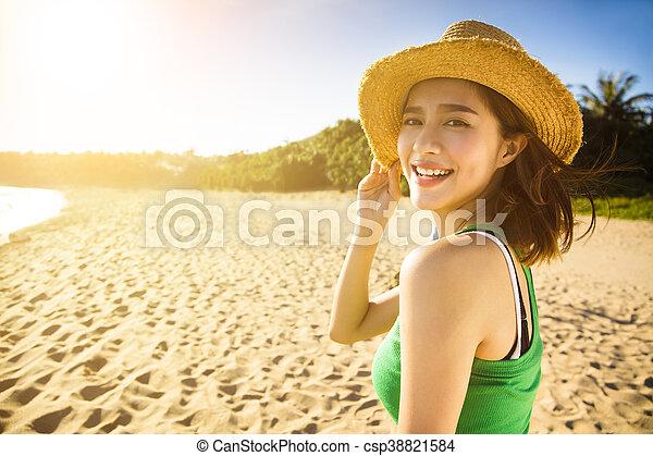 tycka om, sommar, kvinna, ung, semester, strand, lycklig - csp38821584