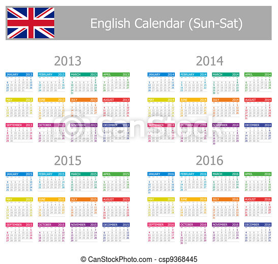 naptár angolul Type 1, 2013 2016, naptár, angol. 2013 2016, sun sat, háttér  naptár angolul