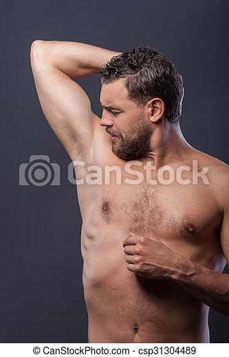 Homme Barbu Nu type, barbe, nu, séduisant, matin. debout, homme, barbu, sien, avant