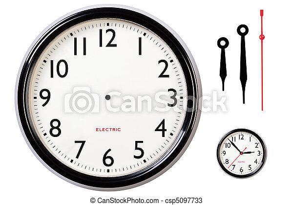 type caractère blanc, mains horloge - csp5097733