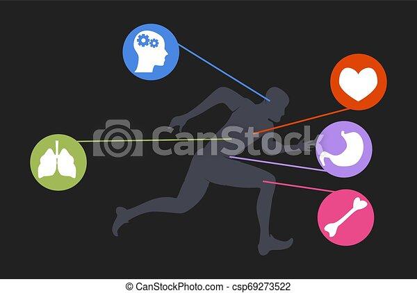 type, style de vie, jogging, courant, fitness, homme, dessin animé, exercice - csp69273522